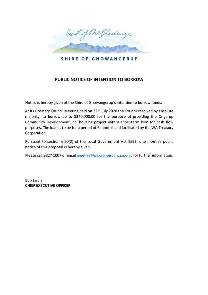 Public Notice Of Intention To Borrow