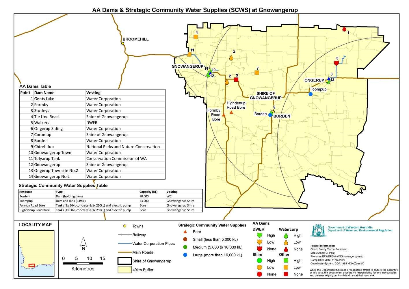 Gnowangerup Strategic Community Water Supply (SCWS) Shire Map