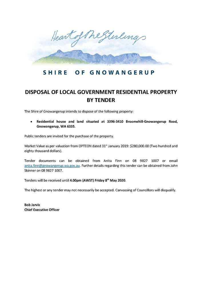 Disposal Of Local Government Residential Property By Tender