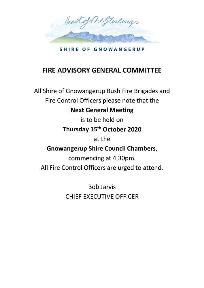 Fire Advisory General Committee Meeting